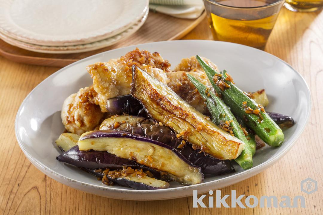 Pan-Fried Eggplant and Chicken in Mild Broth